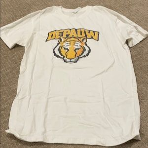 Depauw white short sleeve T-shirt fitted small